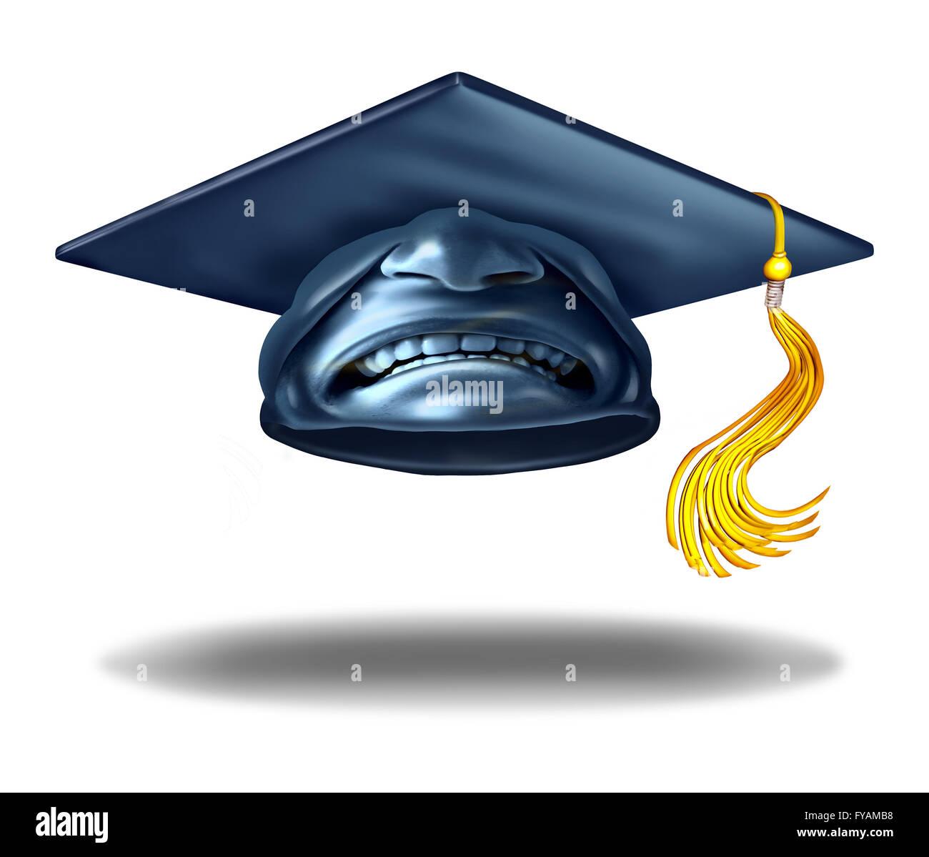 Bildung scheitern und schreckliche Lehre Symbol als eine Graduierung Hut oder Mörtel-Kappe mit einem Ausdruck Stockbild