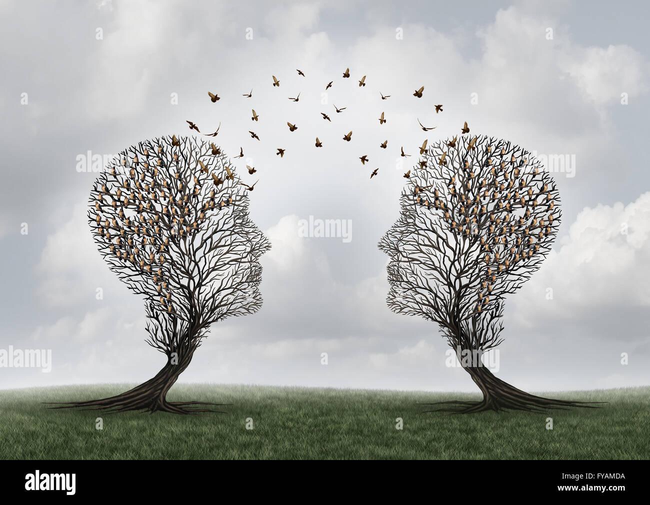 Konzept der Kommunikation und Vermittlung eine Nachricht zwischen zwei Bäume mit Vögel thront und fliegen Stockbild