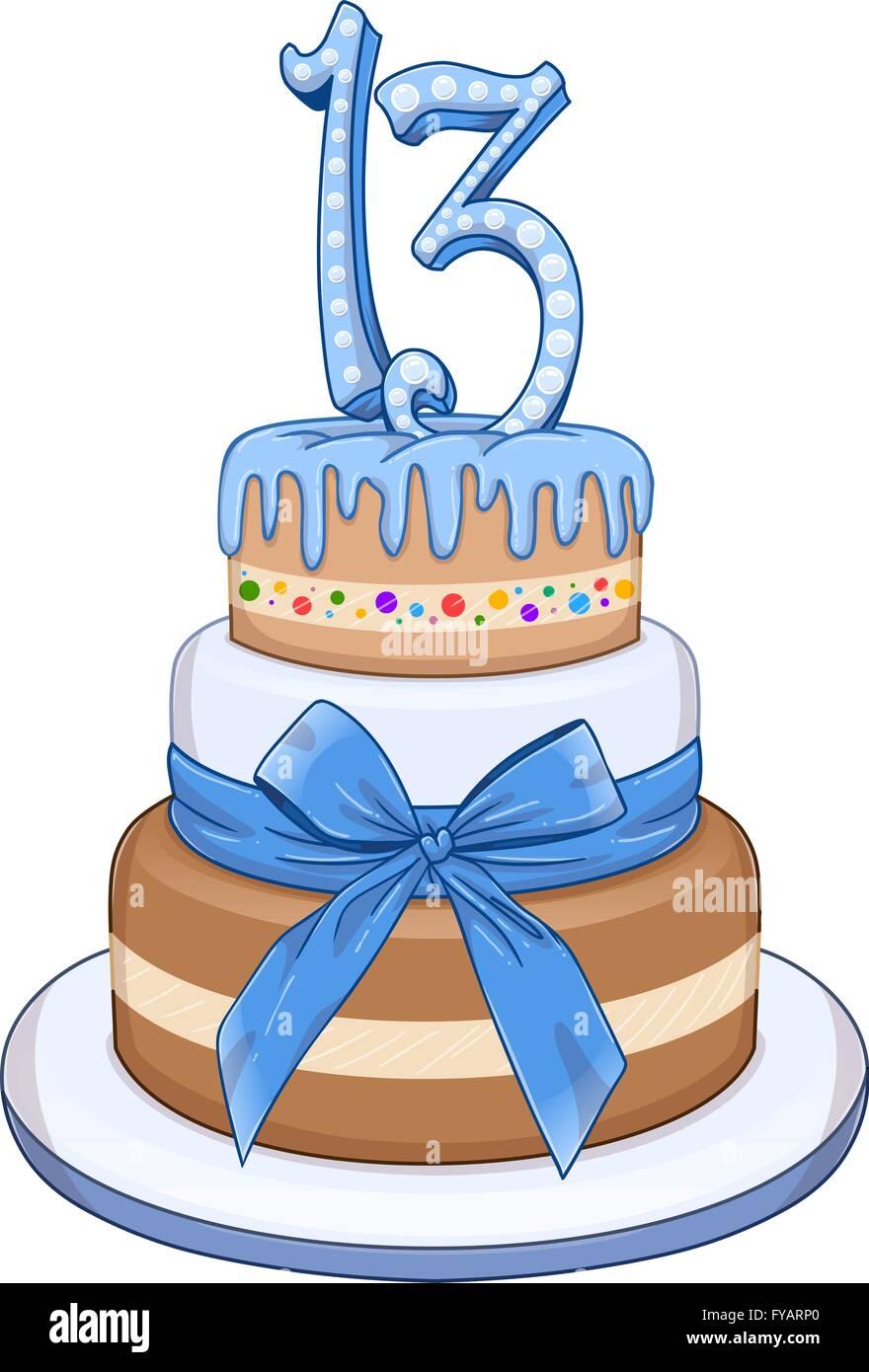 Vektor Illustration Blau 3 Etagen Torte Mit Der Nummer 13 An Spitze Fur Bar
