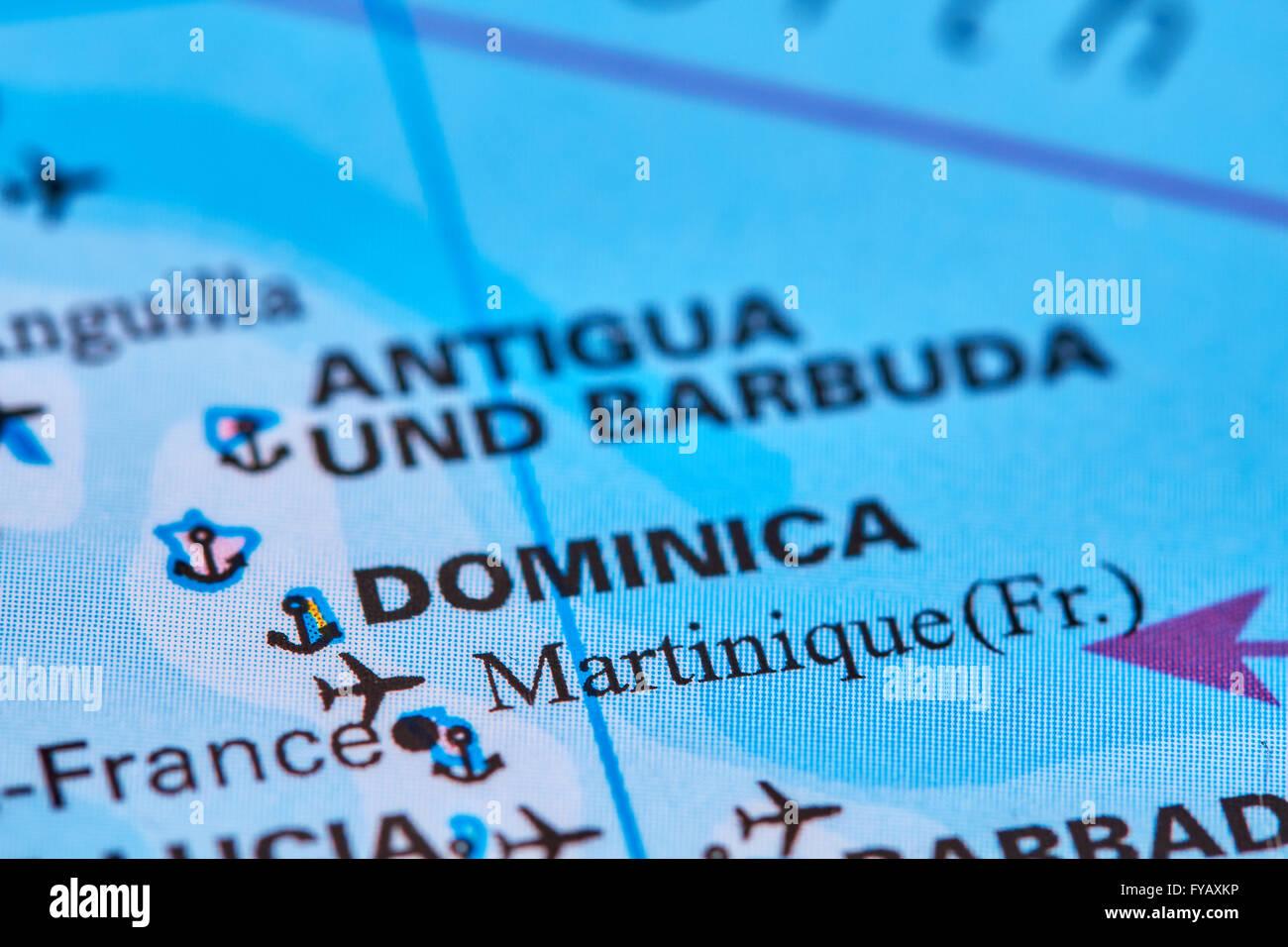 Insel Martinique In Der Karibik Auf Der Weltkarte Stockfoto Bild