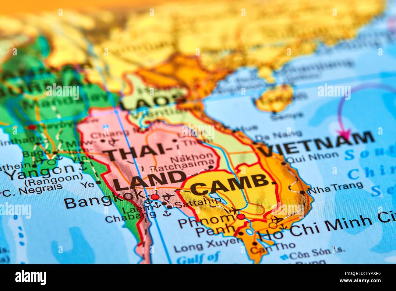 Bangkok, die Hauptstadt von Thailand auf der Weltkarte Stockfoto ...