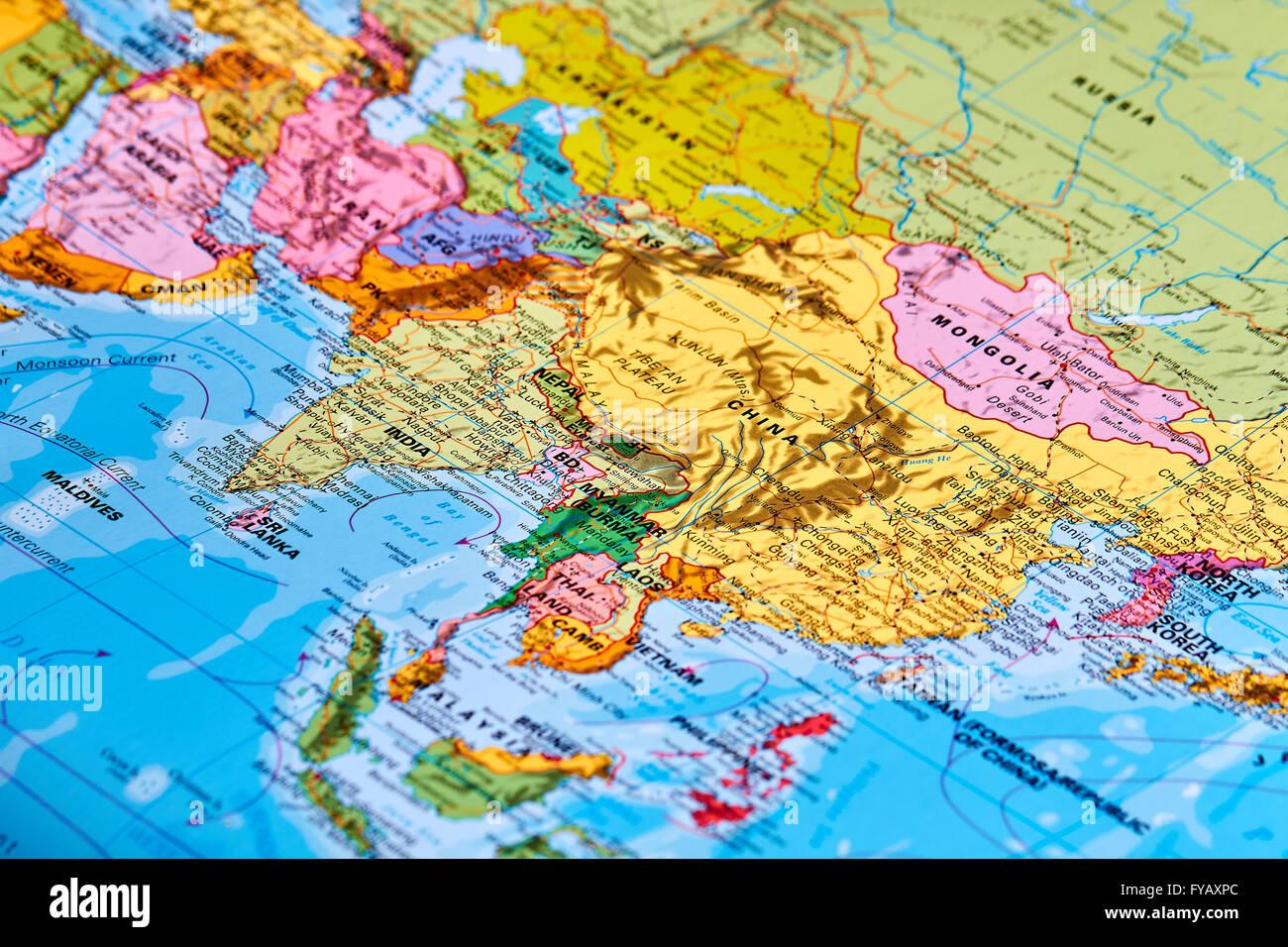 Asien-Kontinent auf der Weltkarte Stockbild