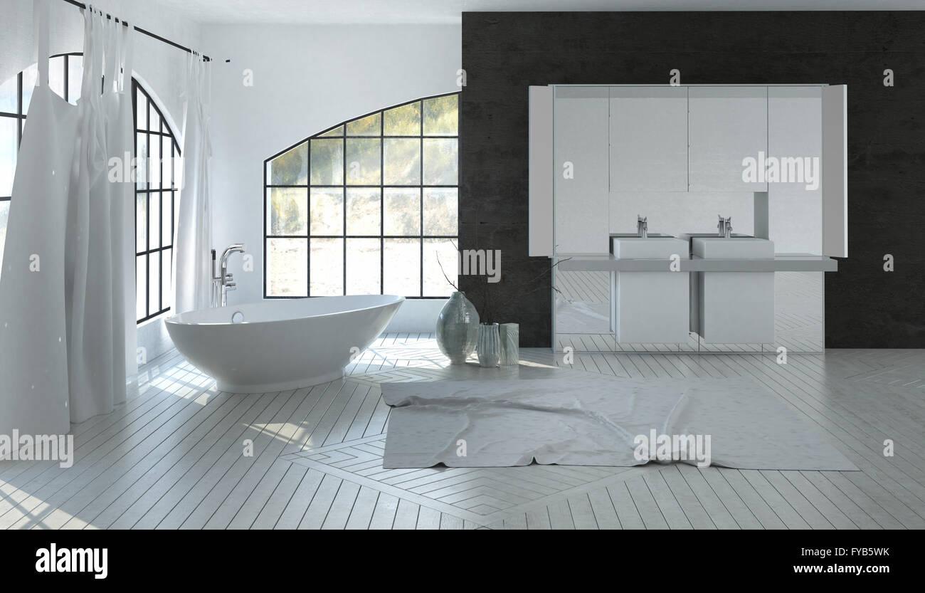 Grosse Weisse Badezimmer Interieur Mit Einem Doppel Waschtisch Auf