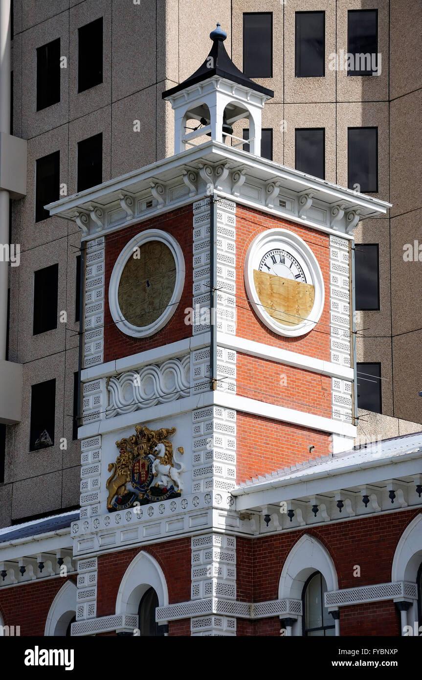 Beschädigt Old Post Office Tower nach Erdbeben, Cathedral Square, Christchurch, Canterbury, Südinsel, Stockbild