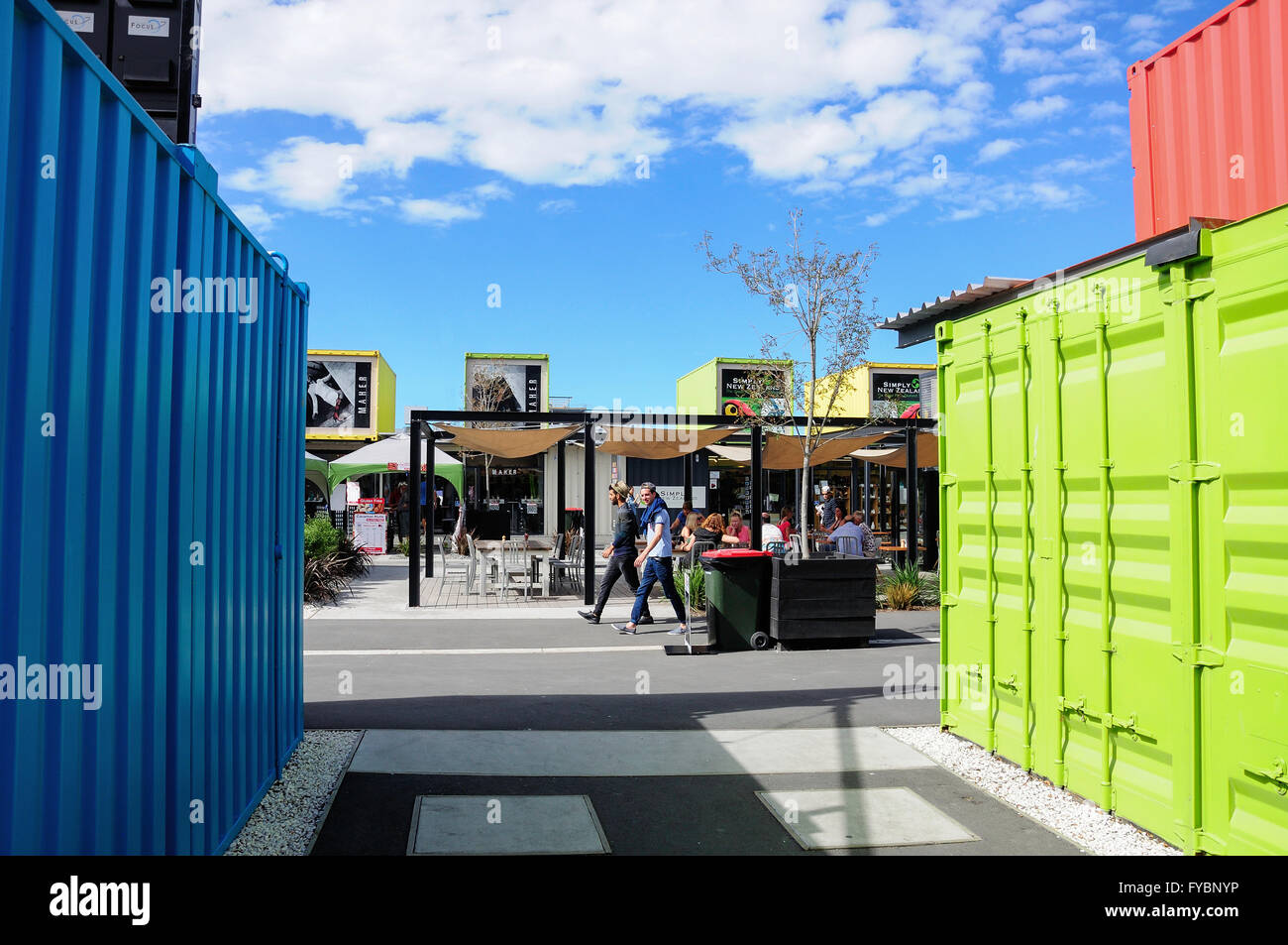 Re: START Container Mall, Cashel Street, Christchurch, Canterbury, Neuseeland Stockbild