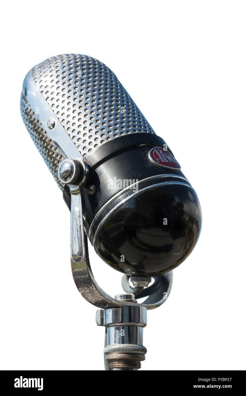 Jahrgang 1960-Ära Aiwa M-18 Crystal Pille Mikrofon NOS mit Ständer, Christchurch, Region Canterbury, Südinsel, Stockbild