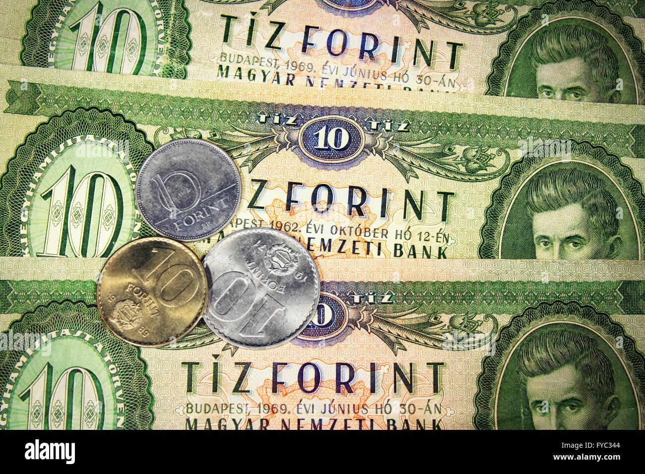 Alte 10 Forint Und Drei Münzen Mit Wert 10 Stockfoto Bild