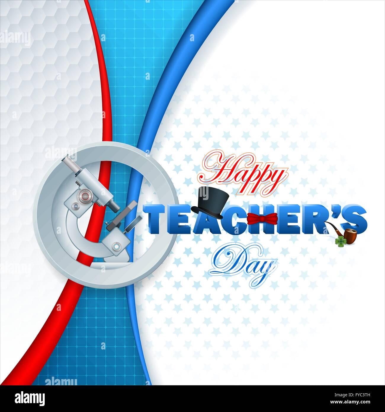 Glückliche Lehrer Tag Vorlage mit 3D-Text dekoriert mit Zylinderhut ...