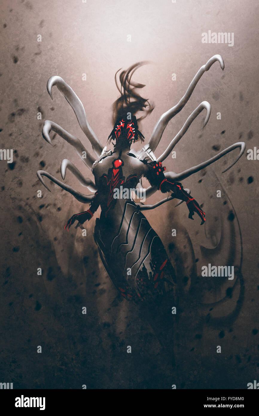 Science-Fiction-Roboter-Charakter, digitale Illustration Malerei Stockbild