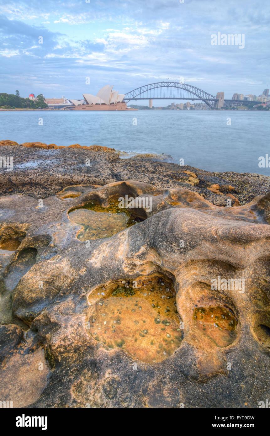 Blick über Sydney Harbour von Frau Macquarie Stuhl Stockbild