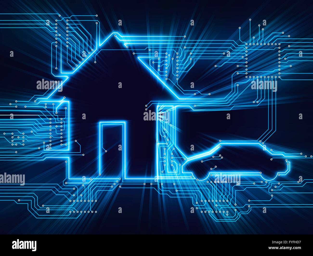Verbunden, House und Elektro-Auto, zukünftiges Zuhause, illustration Stockbild