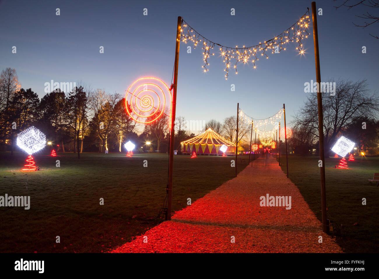 Winterleuchten Beleuchtung Festival, Westfalenpark, Dortmund, Ruhr district, North Rhine-Westphalia, Deutschland Stockbild
