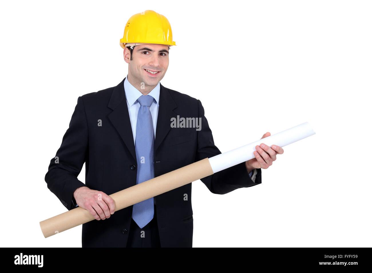 Ingenieur, ziehen eine technische Zeichnung des Gehäuses Stockbild