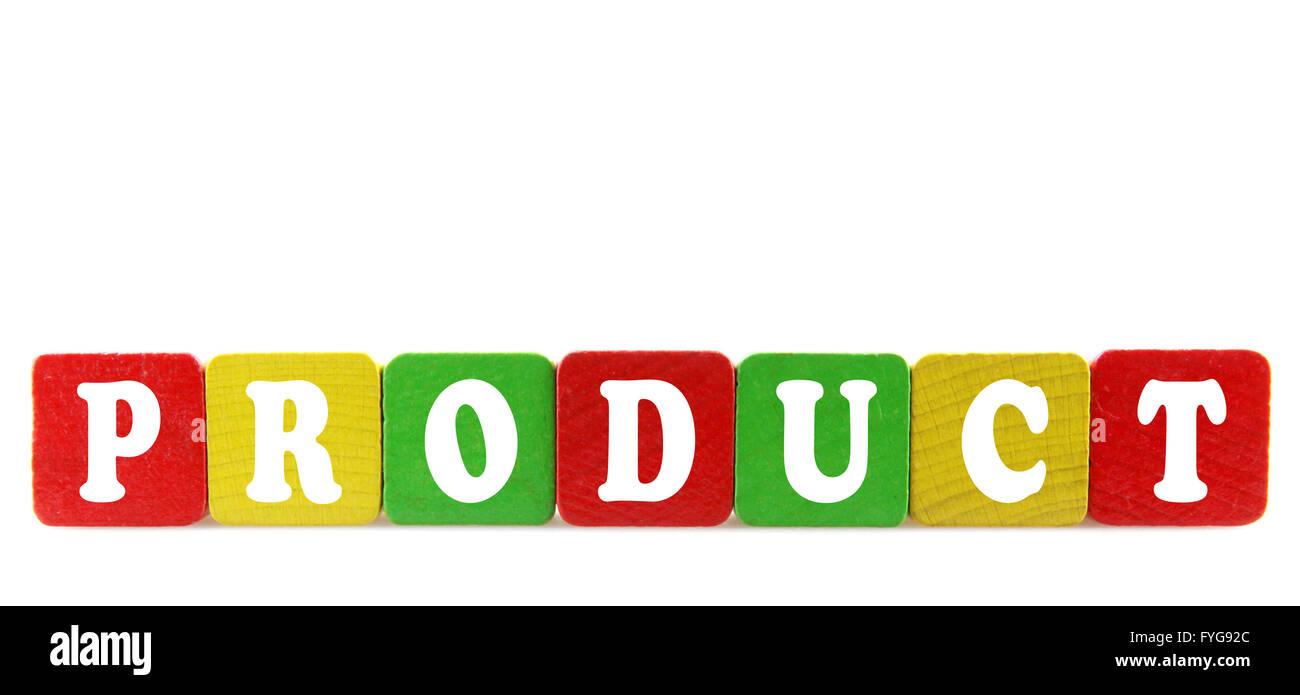 Produkt - isolierten Text in Holzbauklötze Stockbild