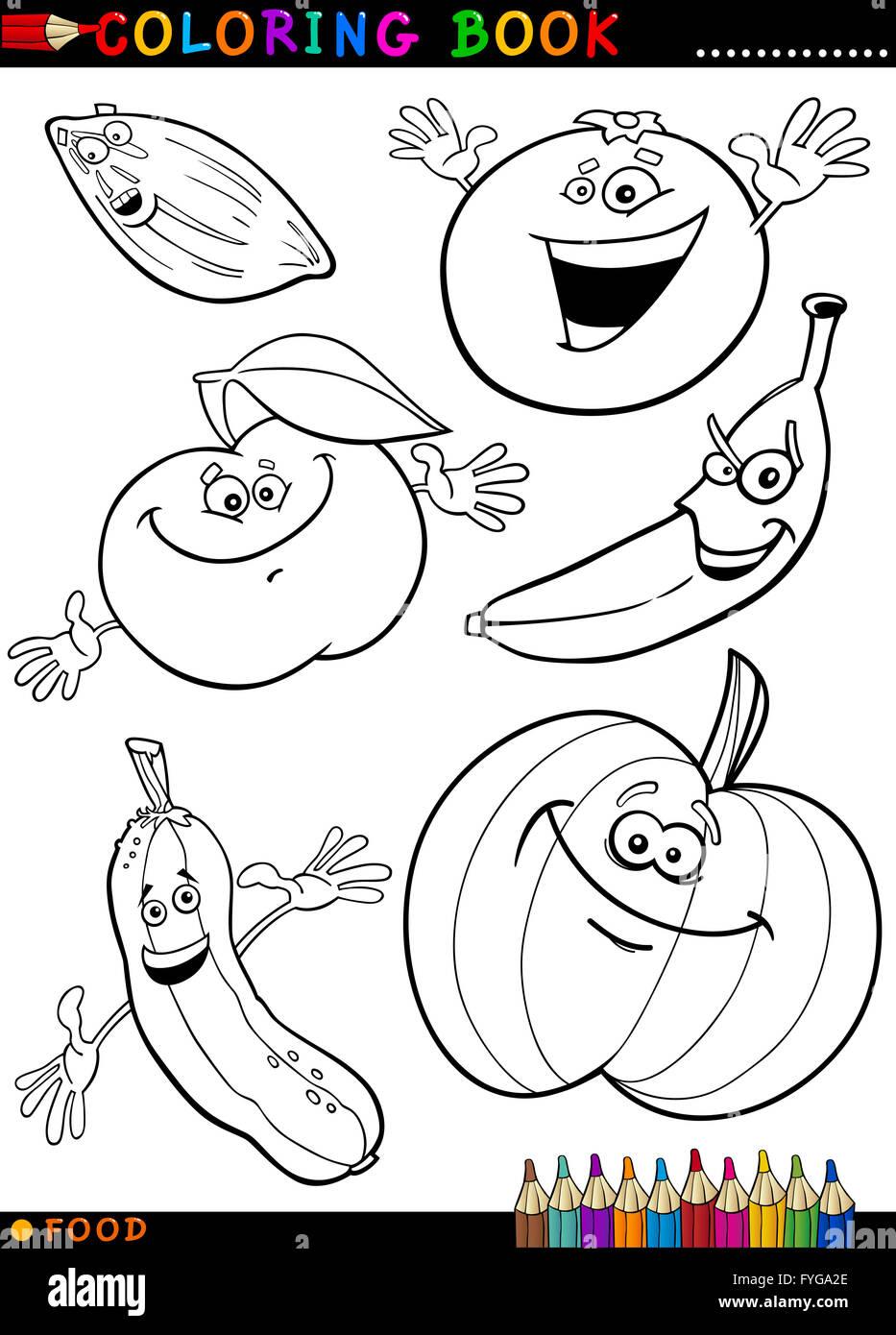 Obst Und Gemüse Zum Ausmalen Stockfoto Bild 103006694 Alamy