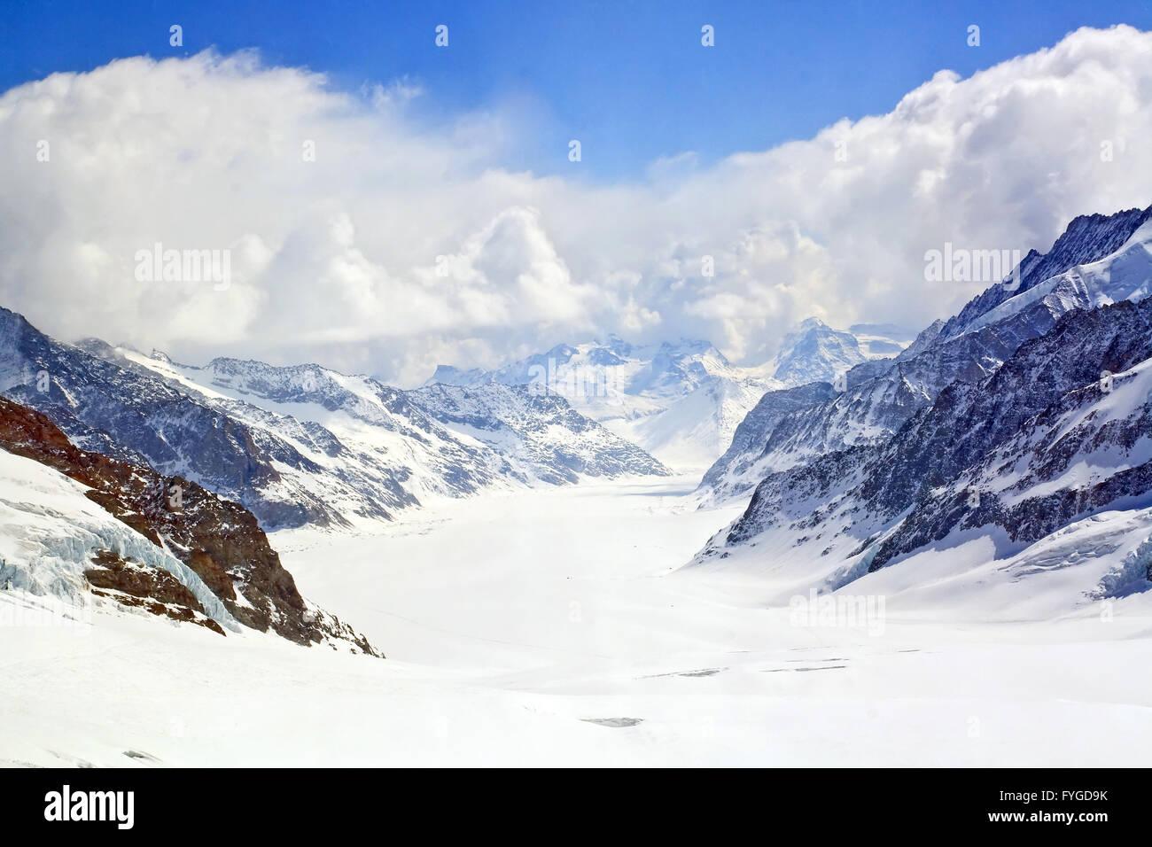 Nahaufnahme des großen Aletsch Gletscher Jungfrauregion Stockbild