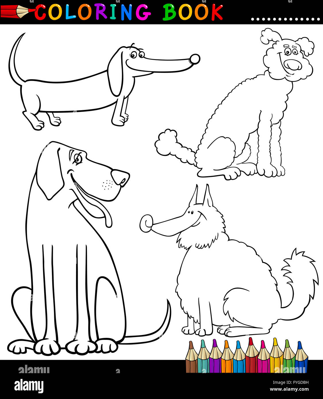 Funny Big Dog Cartoon Coloring Stockfotos Funny Big Dog Cartoon