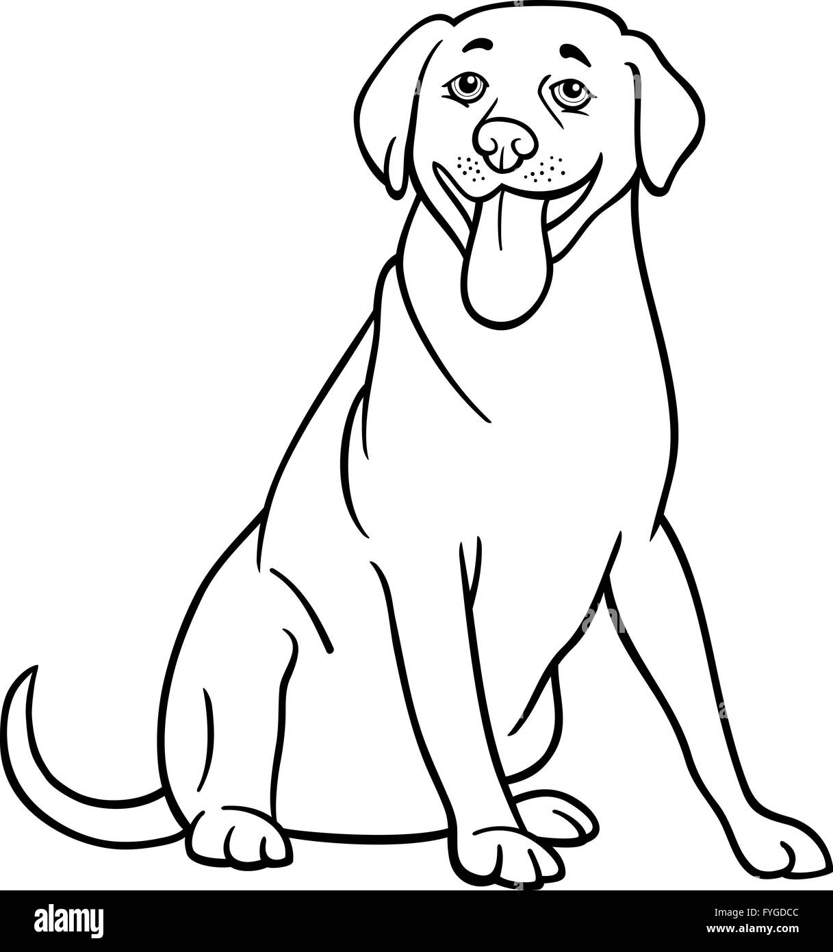 labrador retriever hund cartoon zum ausmalen stockfoto