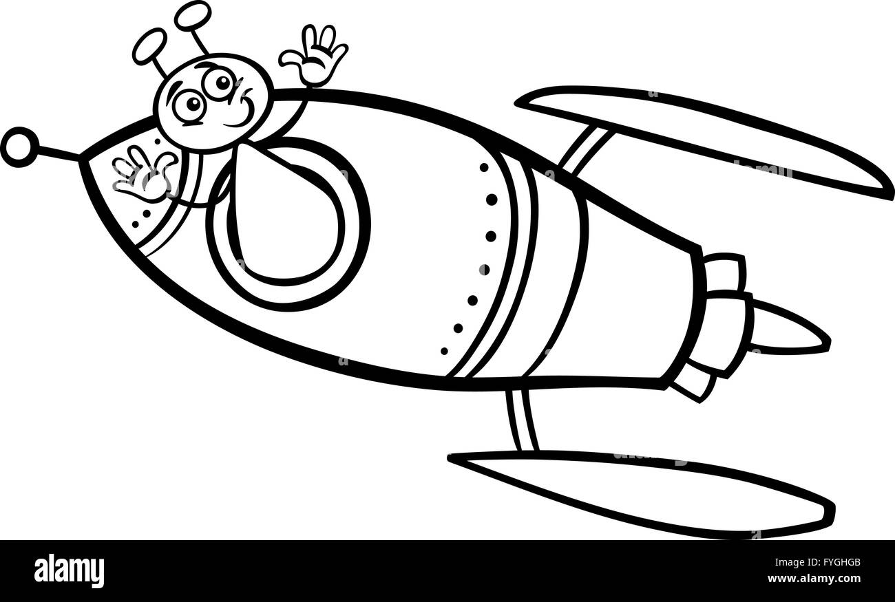 Alien In Ufo Cartoon Illustration Stockfotos & Alien In Ufo Cartoon ...