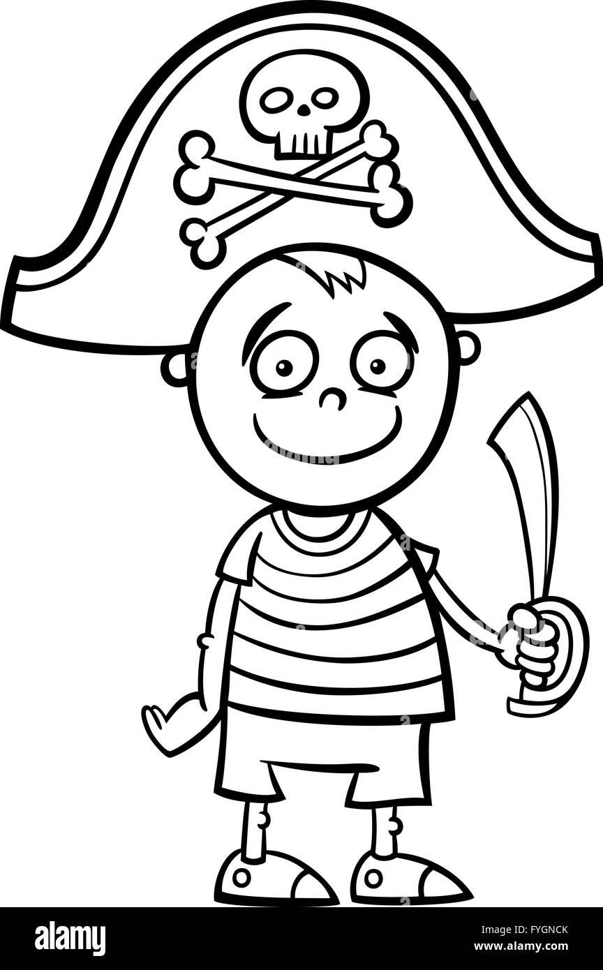 Happy Cartoon Pirate Boy Sword Stockfotos & Happy Cartoon Pirate Boy ...
