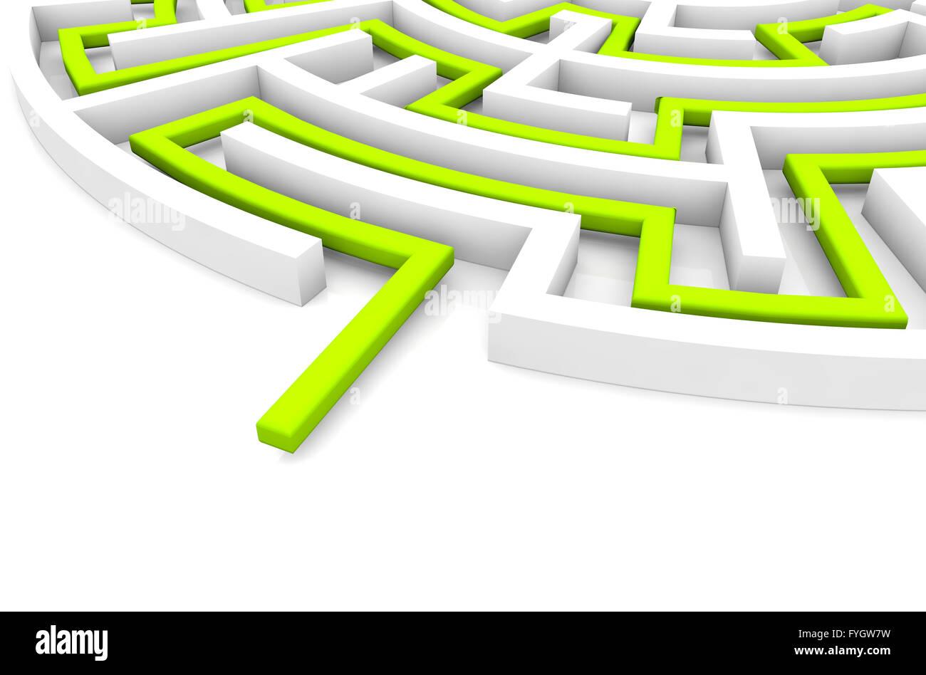 Strategiekonzept: Rendern ein Labyrinth mit Lösung in grün Stockbild