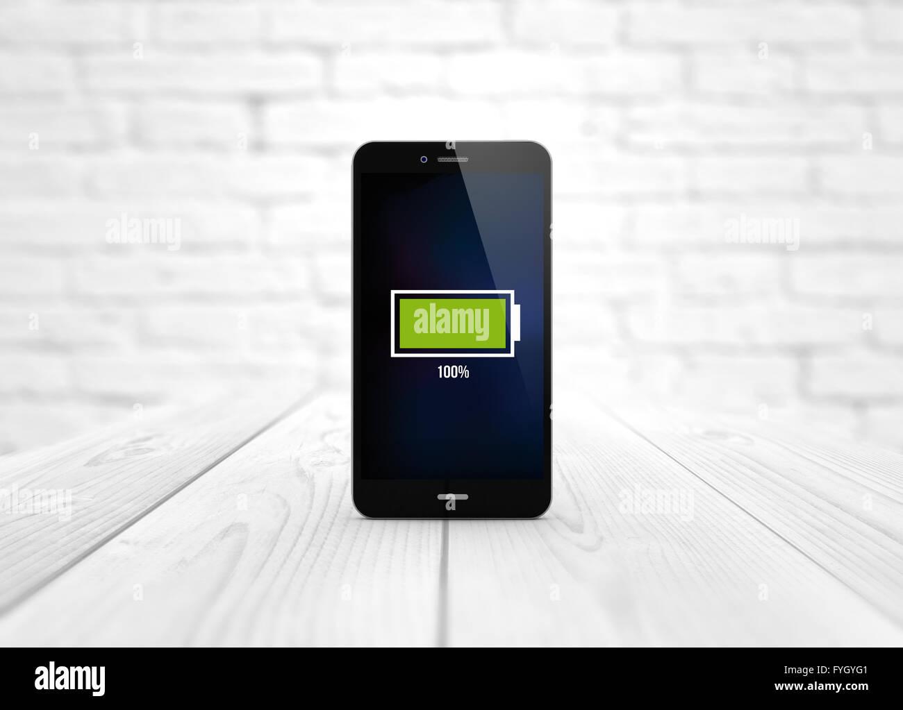 Moderne Energie Braucht Konzept: Digital Erzeugte Smartphone über Holztisch  Mit Vollem Akku. Alle Bildschirm