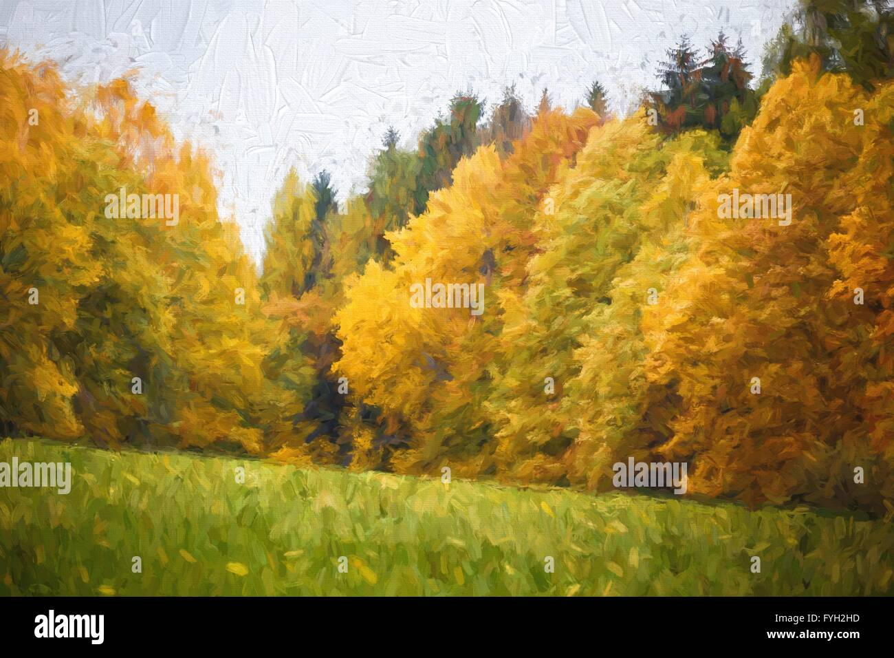 herbstliche landschaft lgem lde mit herbst bl tter im wald stockfoto bild 103022793 alamy. Black Bedroom Furniture Sets. Home Design Ideas