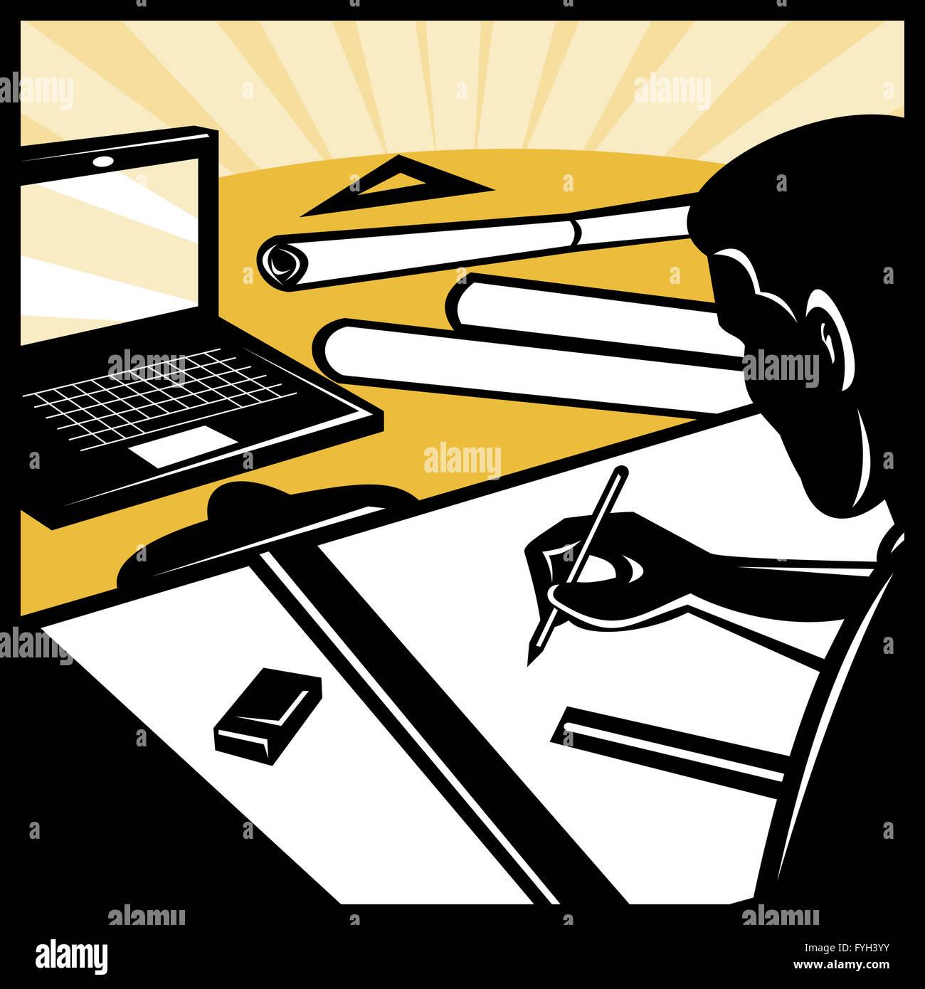 architektonische Zeichner Zeichnung computer Stockbild