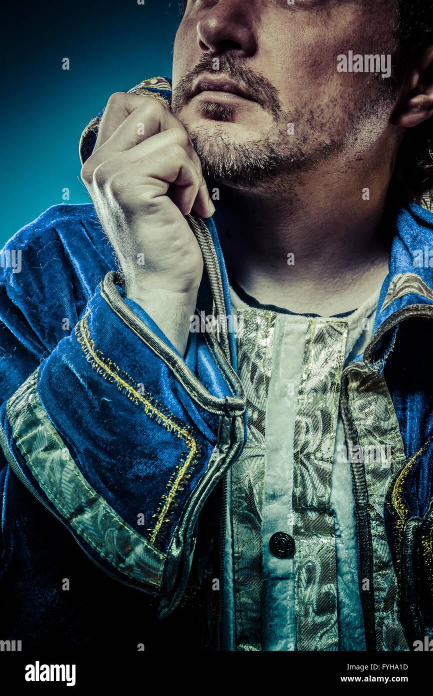 Blauer Prinz, Herrlichkeit Konzept, lustige Fantasy Bild Stockbild