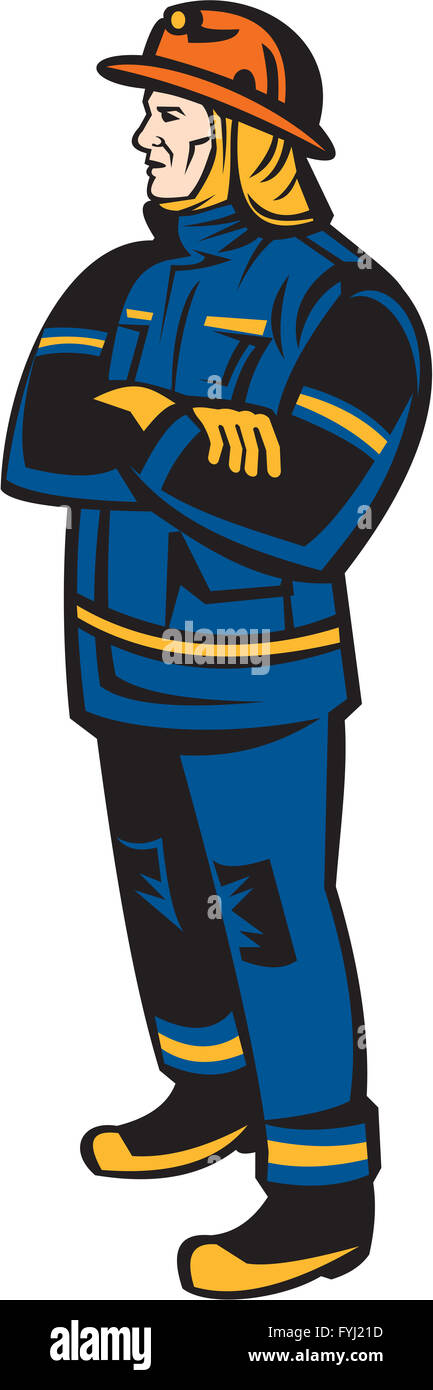 Feuerwehrmann Feuerwehrmann Faltung Arme Retro Stockbild