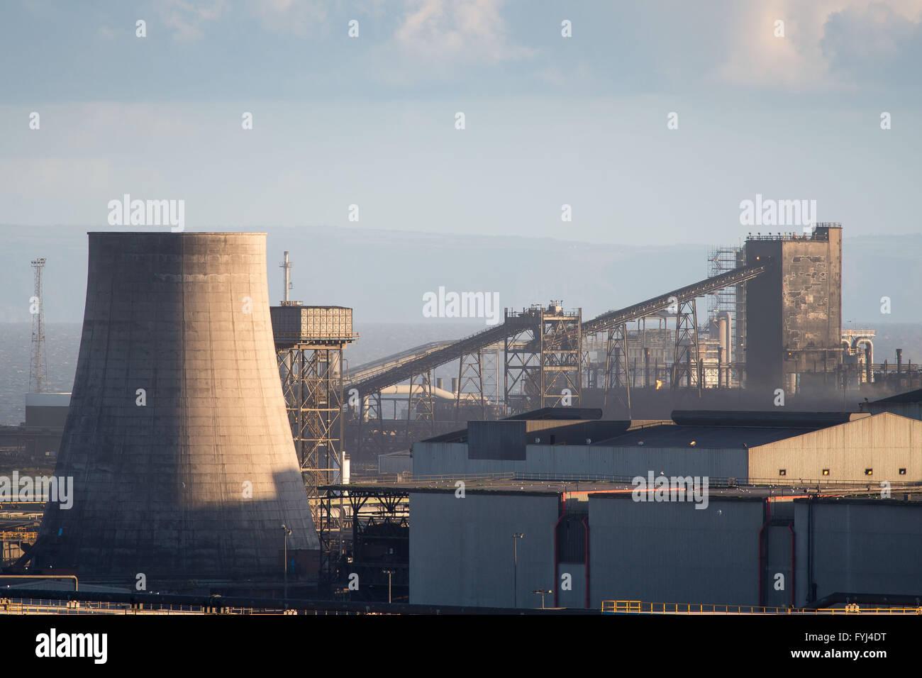 Tata Steel Stahlwerk in Port Talbot, South Wales. Stockfoto