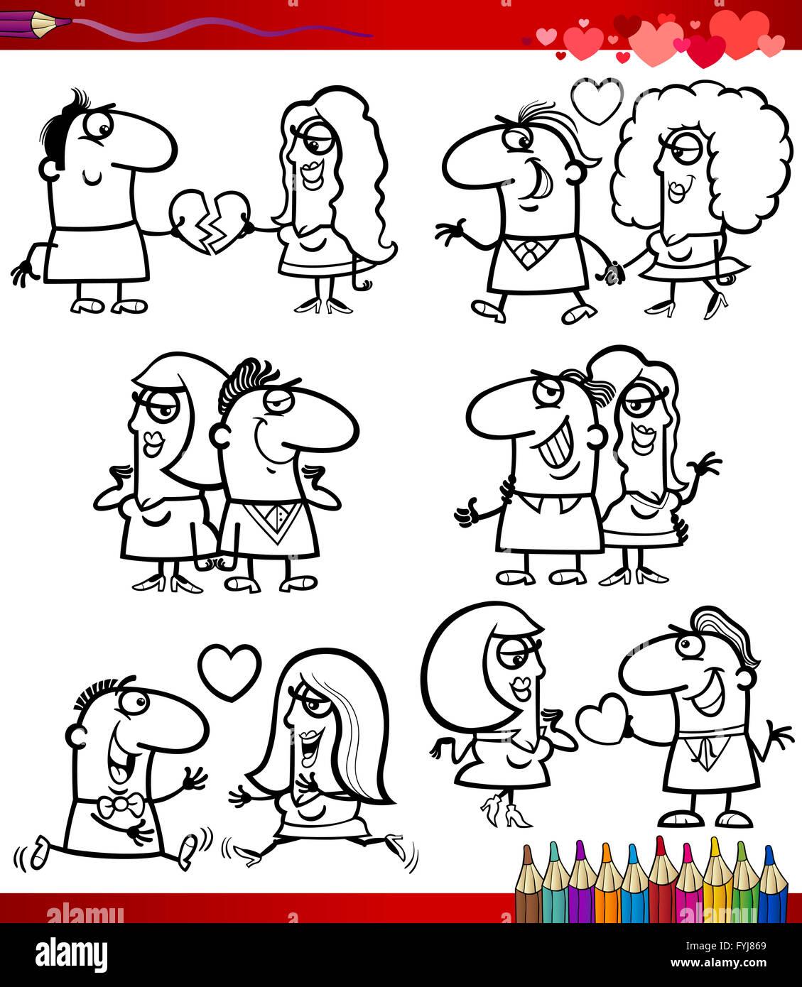 paar in Liebe Cartoons Malvorlagen Stockfotografie - Alamy