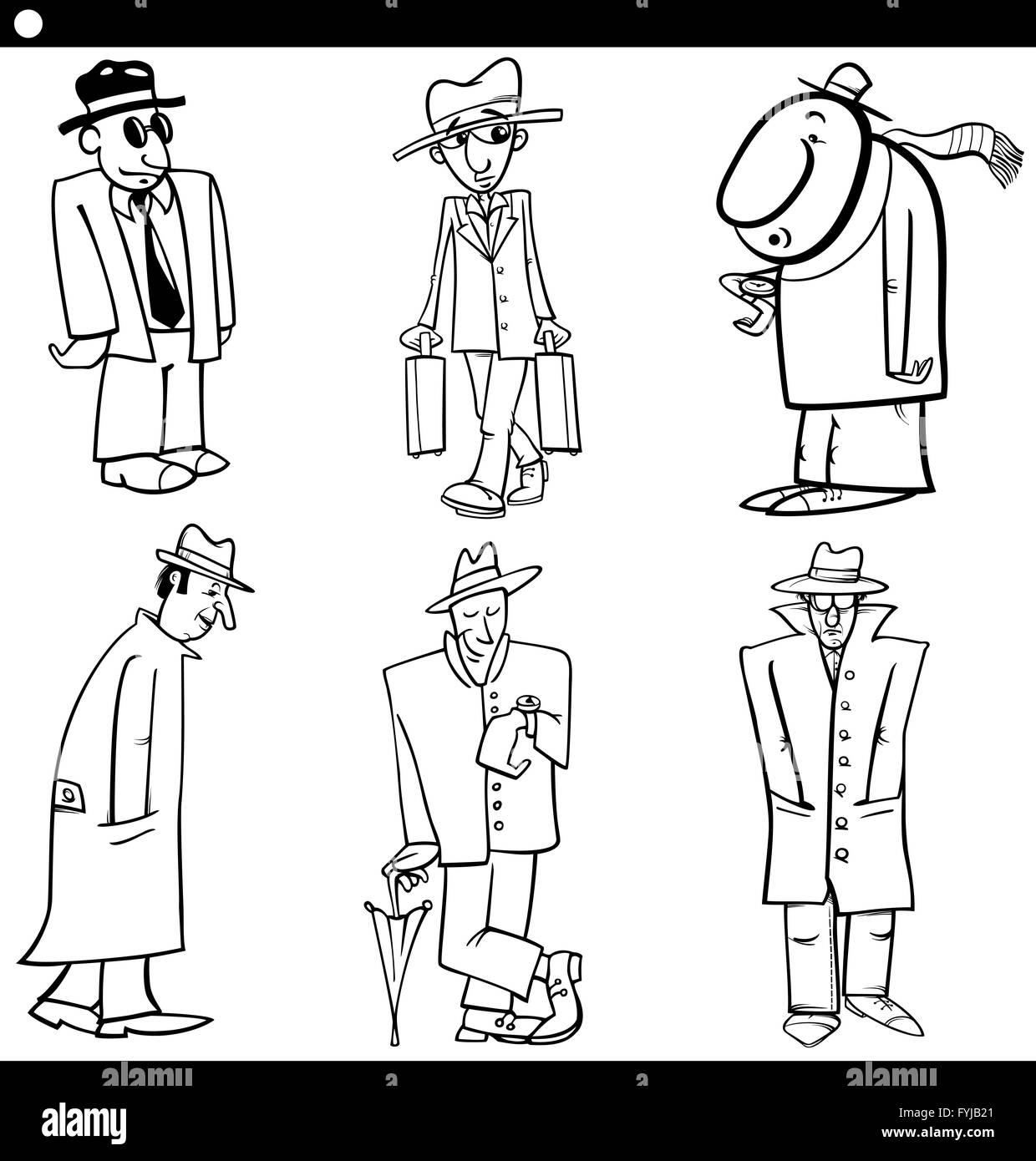 Men Charaktere Festgelegt Cartoon Illustration Stockfoto Bild