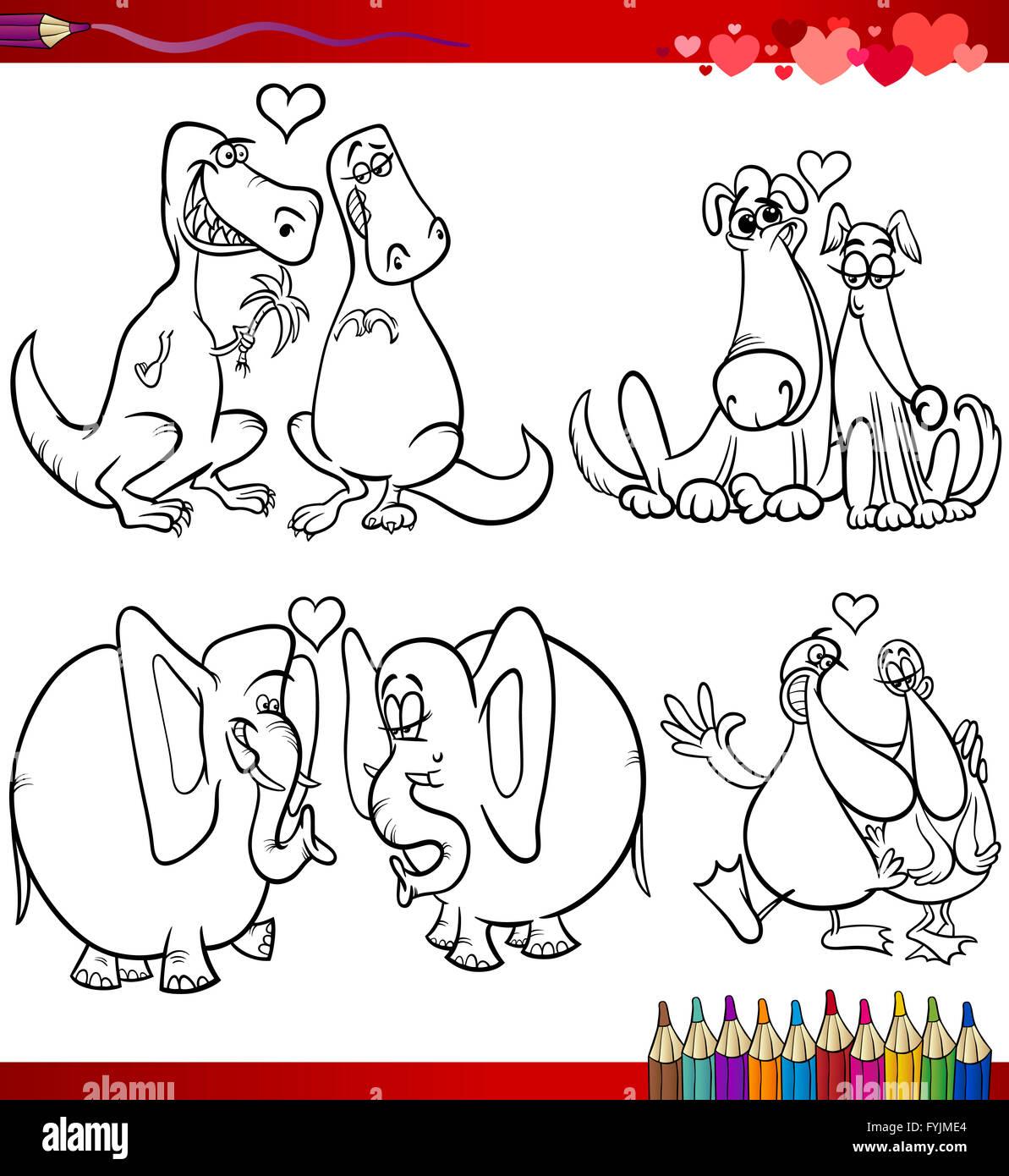 Valentinstag Cartoon Themen Zum Ausmalen Stockfoto Bild 103058764