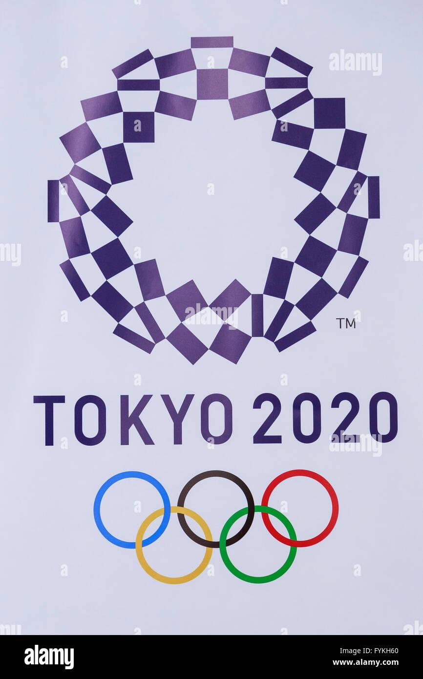 Das Neue Logo Der Olympischen Spiele 2020 In Tokio Auf Dem Display An Der Tokyo Metropolitan Aufbauend Auf 27 April 2016 Tokio Japan Nach Dem Schaben Des Originals Design Letztes Jahr Aufgrund