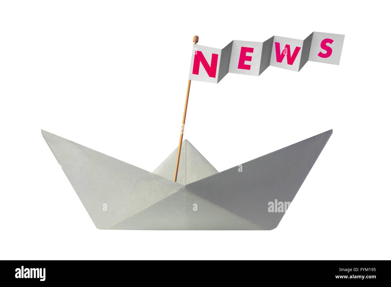 Origami Papierboot mit Fahne schreiben Nachrichten Stockbild