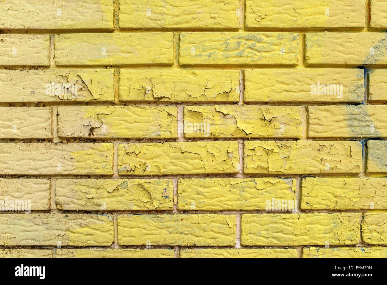 Gelbe Farbe Abblättern Des Ziegel Mauerwerk Wandfläche, Städtische Textur