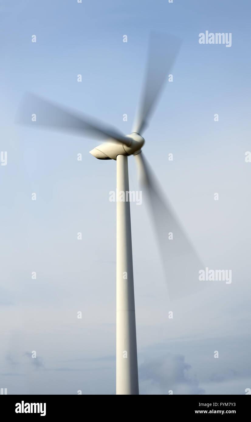 Wiese mit Windkraftanlagen zur Stromerzeugung. Ökologie - Windkraft Stockbild