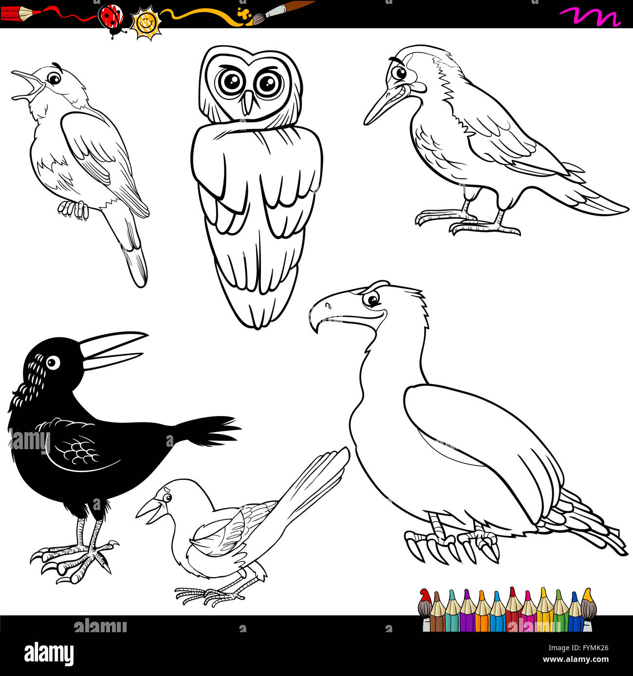 Malvorlagen Vögel cartoon Stockfoto, Bild: 103101550 - Alamy