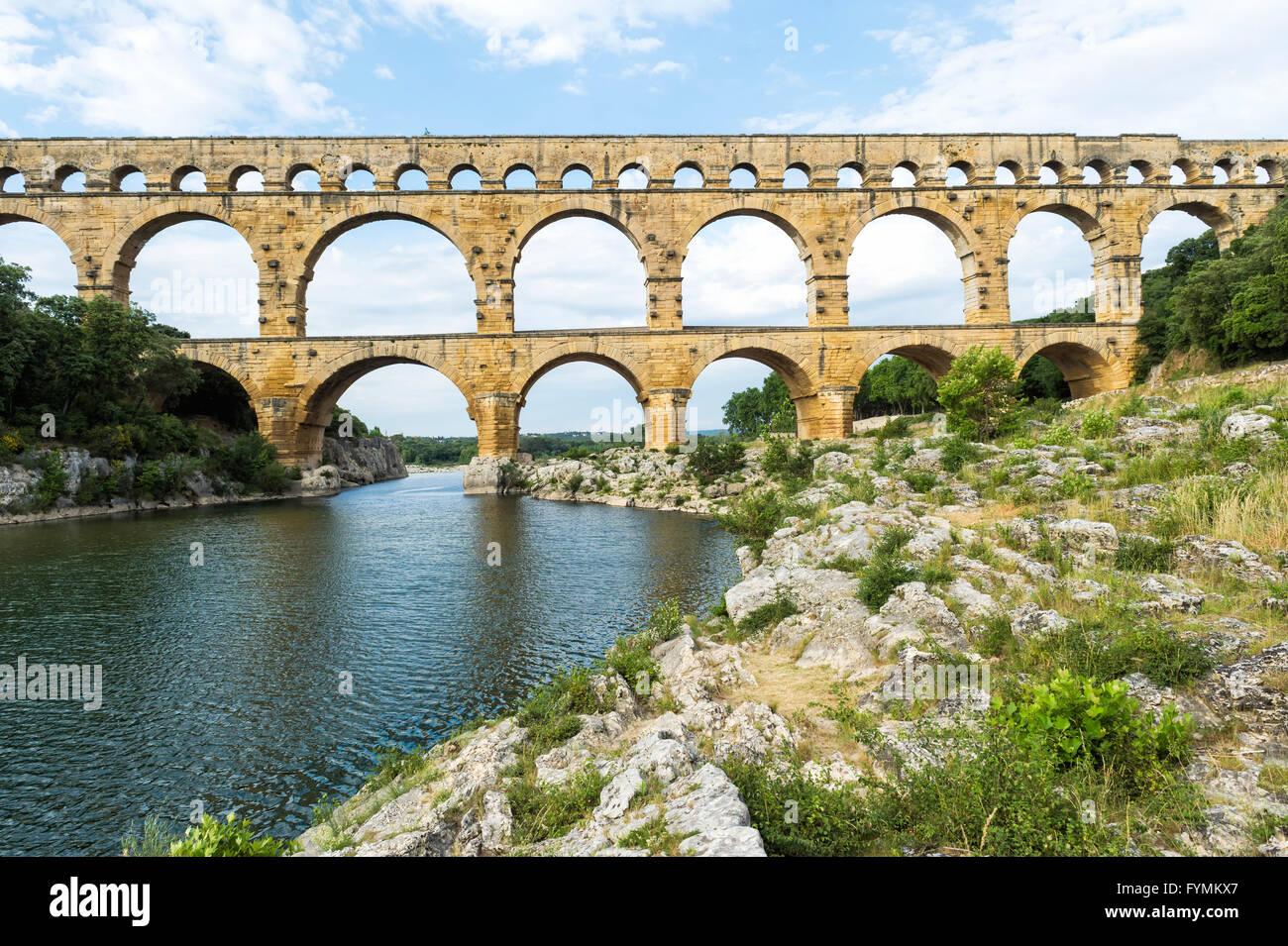 Pont du Gard, Region Languedoc Roussillon, Frankreich, UNESCO-Weltkulturerbe Stockbild