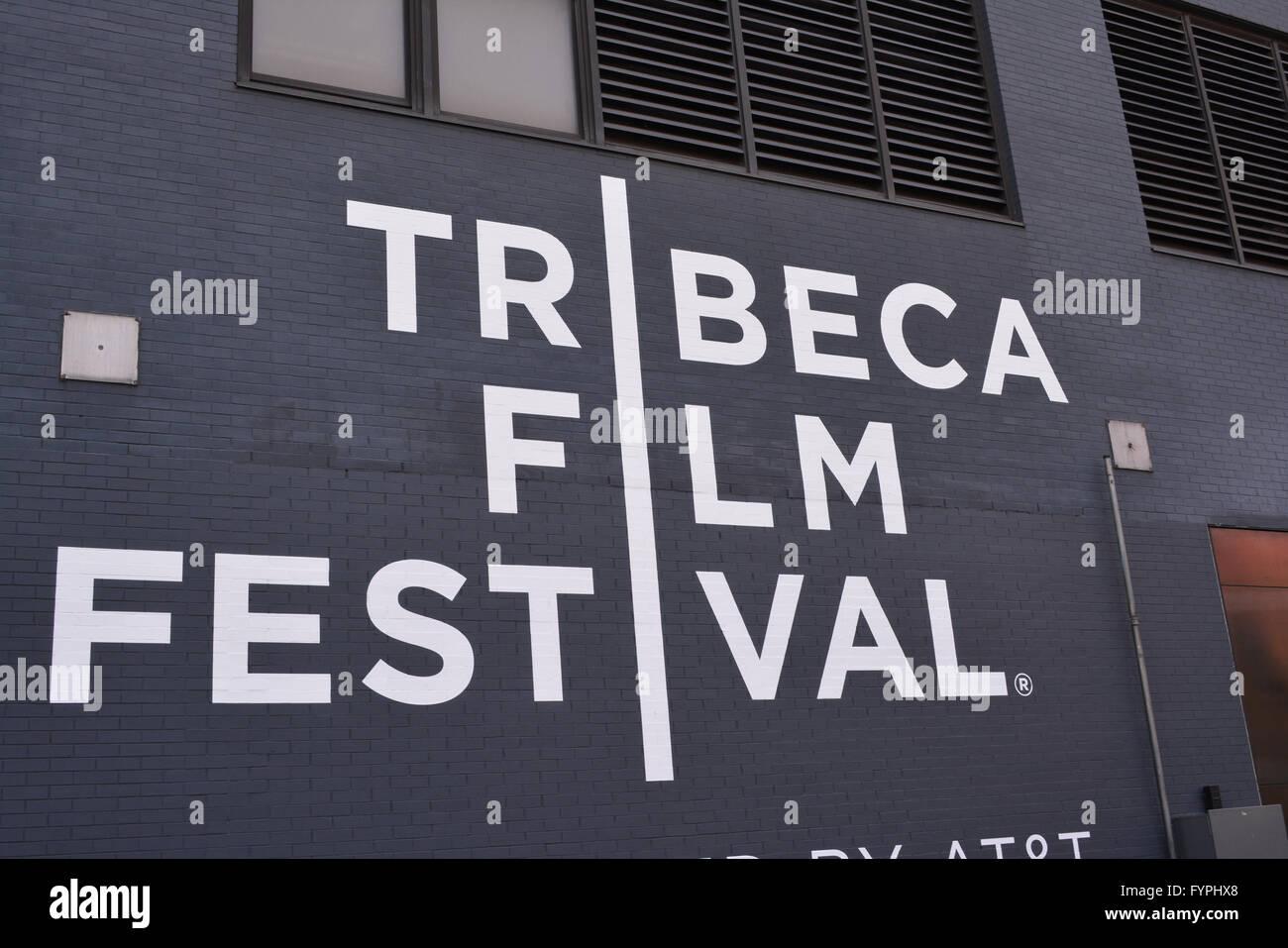 Melden Sie sich für das Tribeca Film Festival in Lower Manhattan. Stockbild