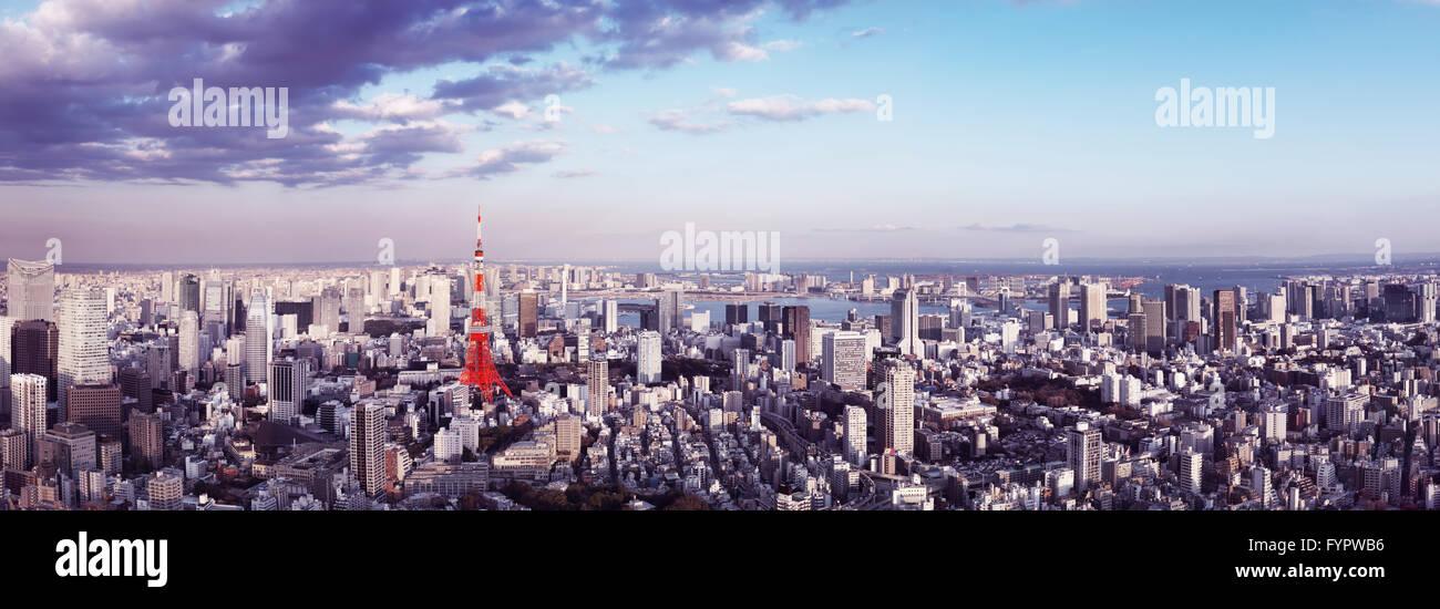 Tokyo Tower, Stadtbild, Panoramablick, Tokyo, Japan Stockbild