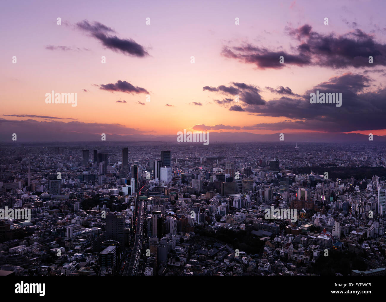 Stadtbild, bei Sonnenuntergang, Shibuya, Tokyo, Japan Stockbild