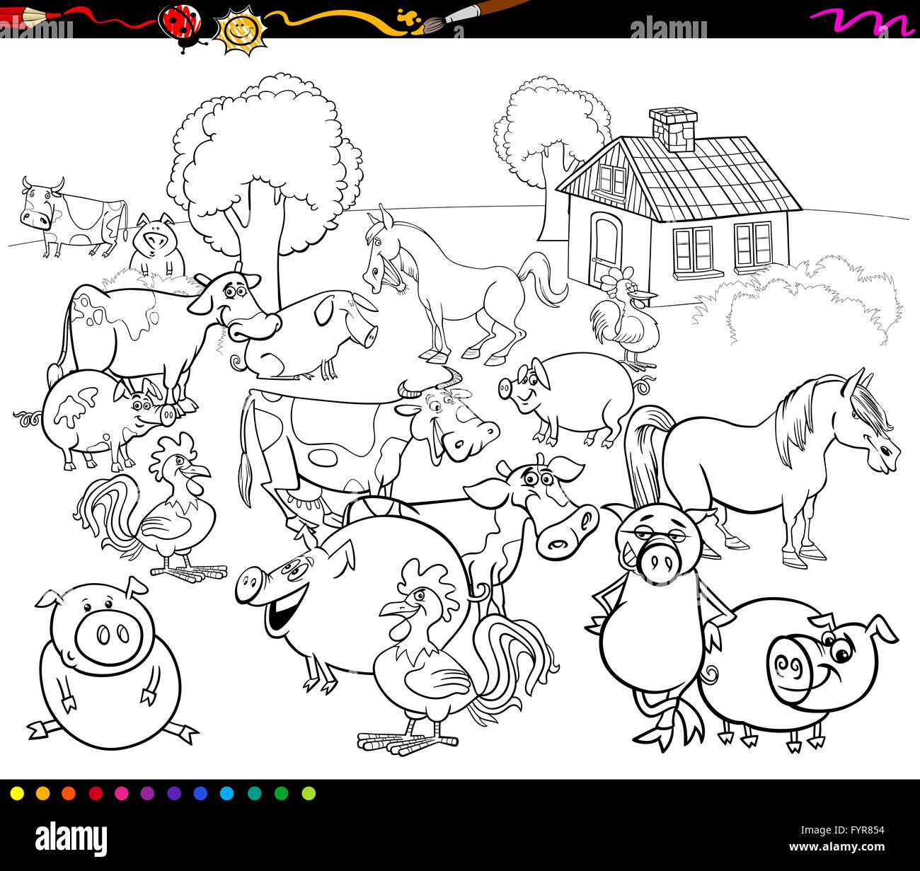 Group Cartoon Farm Animals Coloring Stockfotos & Group Cartoon Farm ...