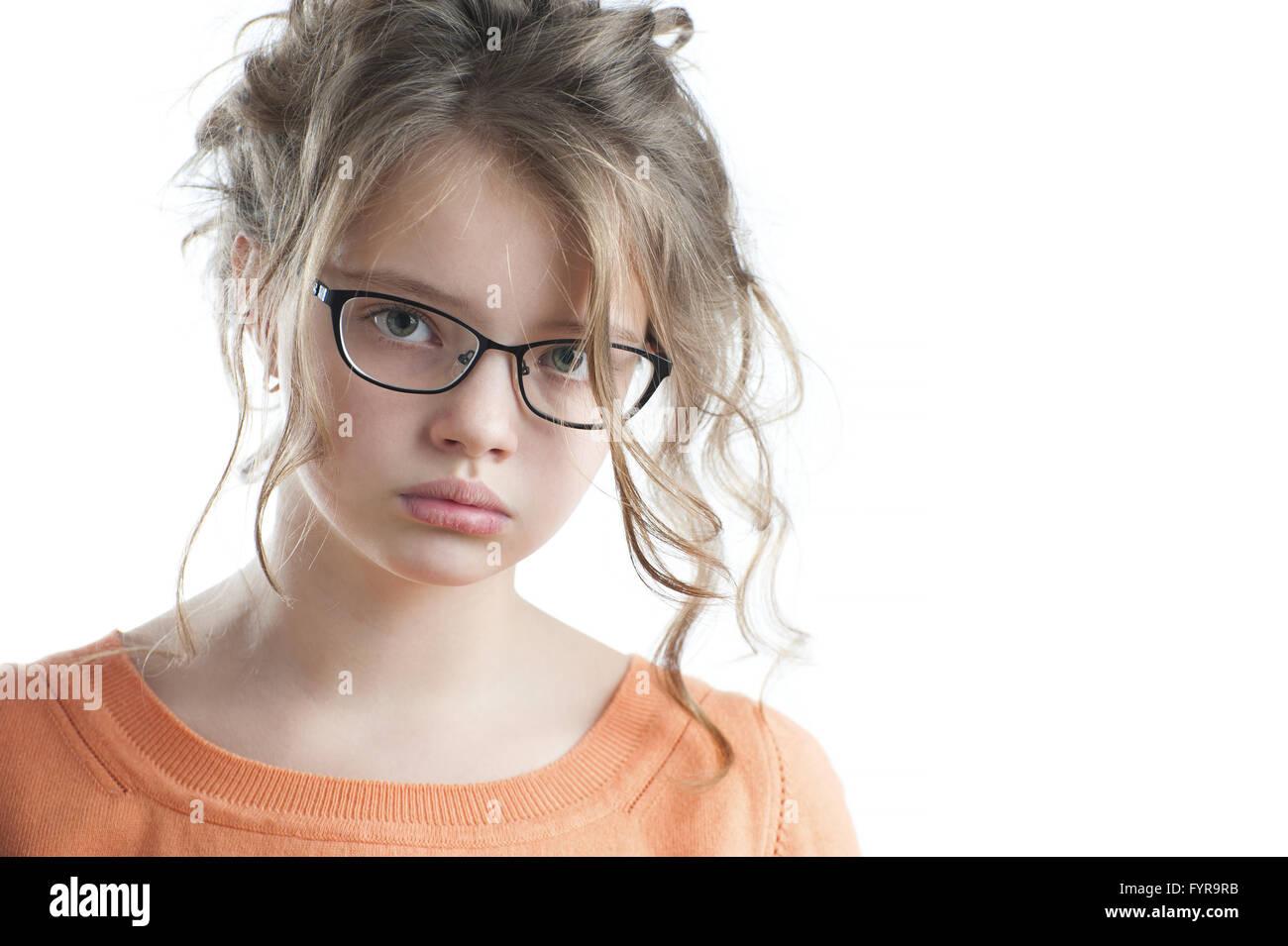 Porträt von einem hübschen Mädchen ein Jahrzehnt. Stockbild