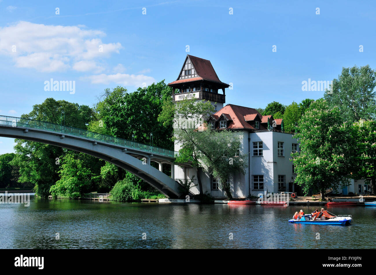 Insel der Jugend, Insel der Jugend, Spree, Treptow, Berlin, Deutschland Stockbild