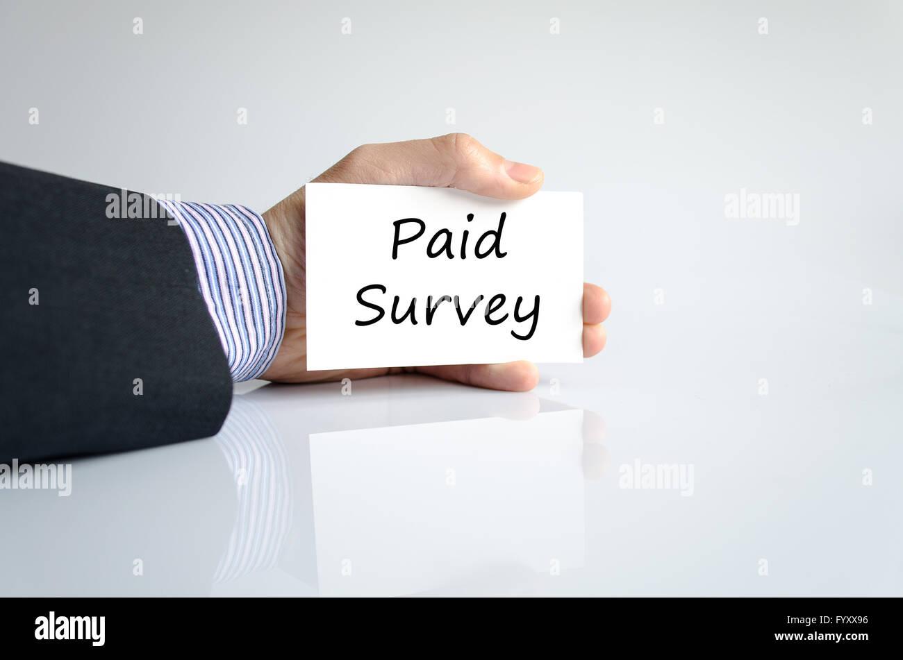 Bezahlte Umfrage Textkonzept Stockbild