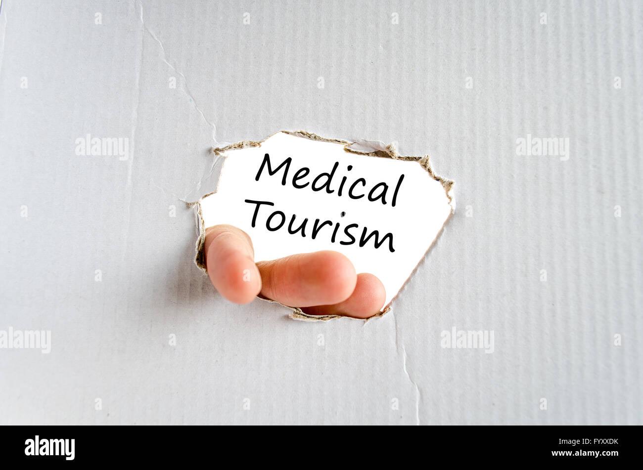 Medizintourismus Textkonzept Stockbild
