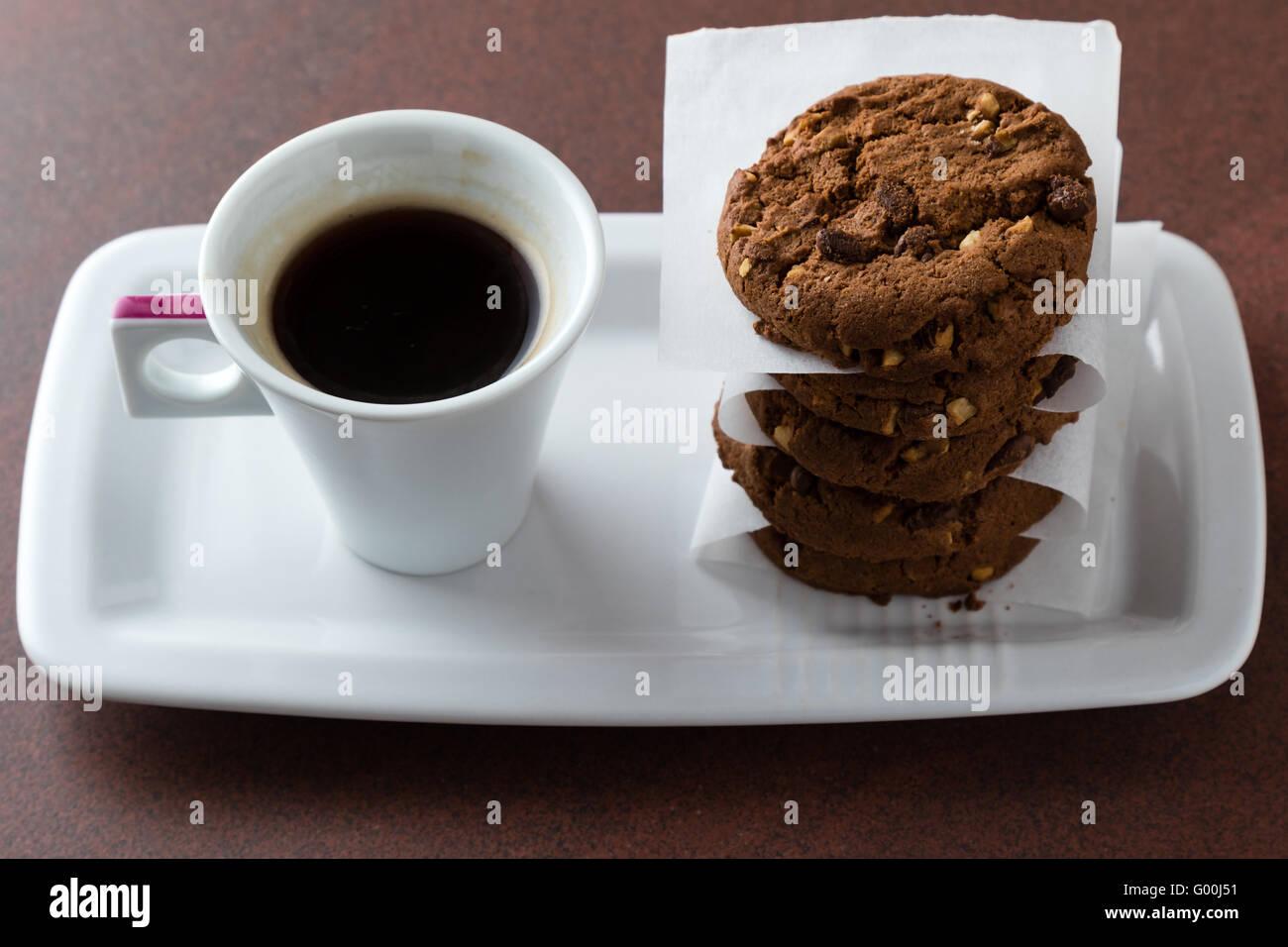 Espresso und Kekse Stockbild