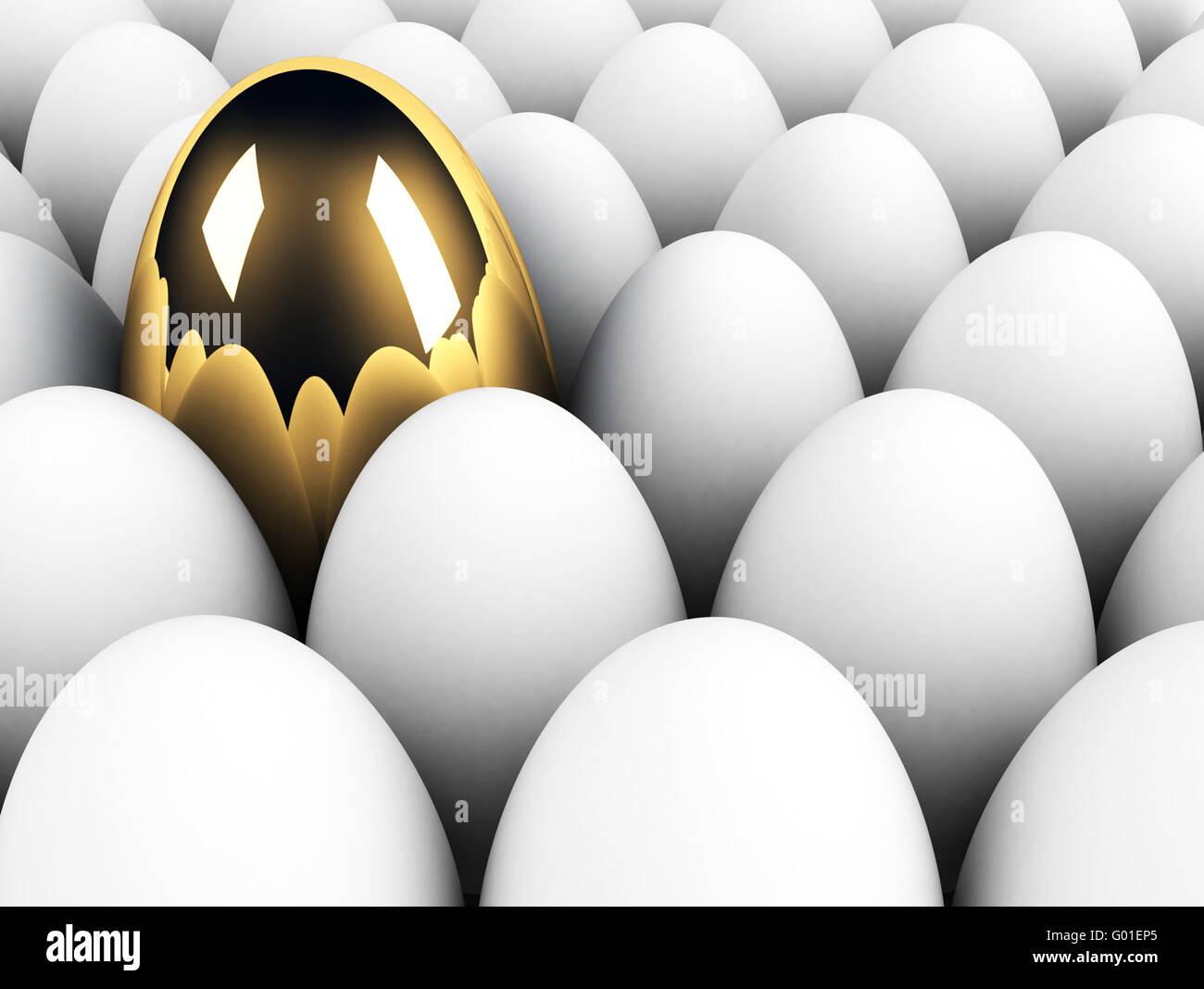 große goldene Ei in der Menschenmenge Einzigartigkeit Konzept Stockbild